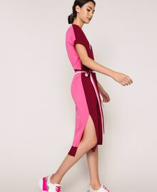 """Two-tone knit dress with belt Two-tone """"Crimson"""" Red / Superpink Woman 201ST3030-03"""