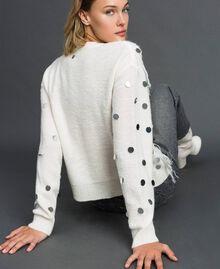 Cardigan en laine et mohair avec sequins Blanc Neige Femme 192ST3021-03
