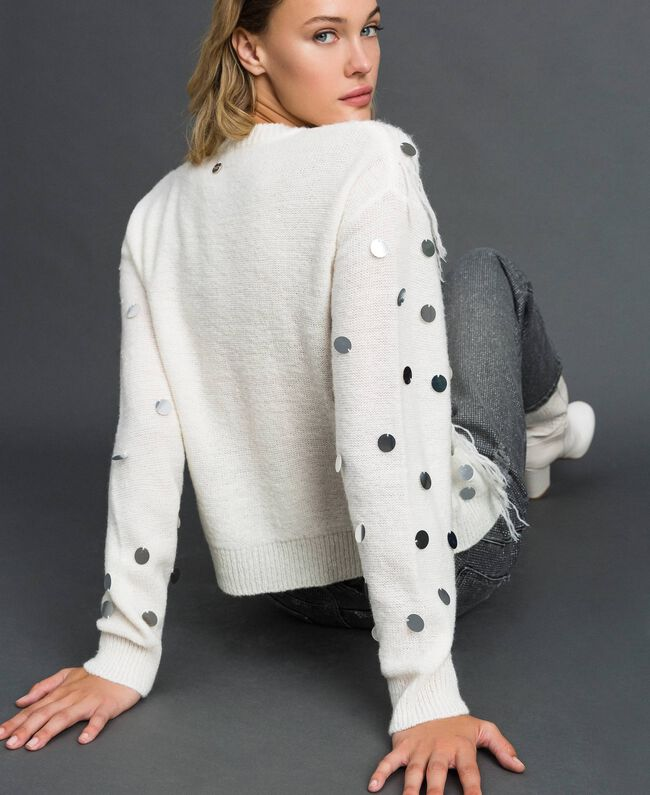 Cardigan in lana e mohair con paillettes Bianco Neve Donna 192ST3021-03