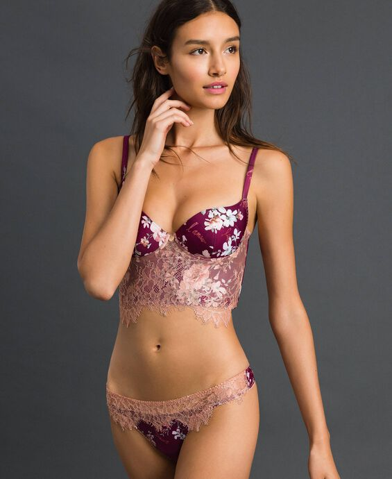 Floral G-string with lace