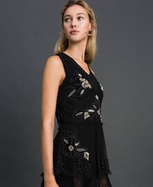 Plumetis tulle top with floral embroidery Black Woman 192TT2043-02