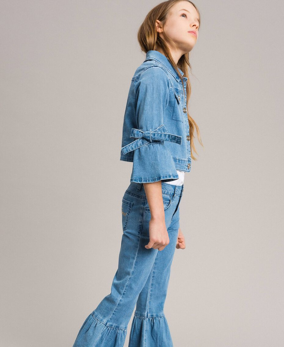 Jeansjacke mit Schleifen Hellblauer Denim Kind 191GJ2610-02