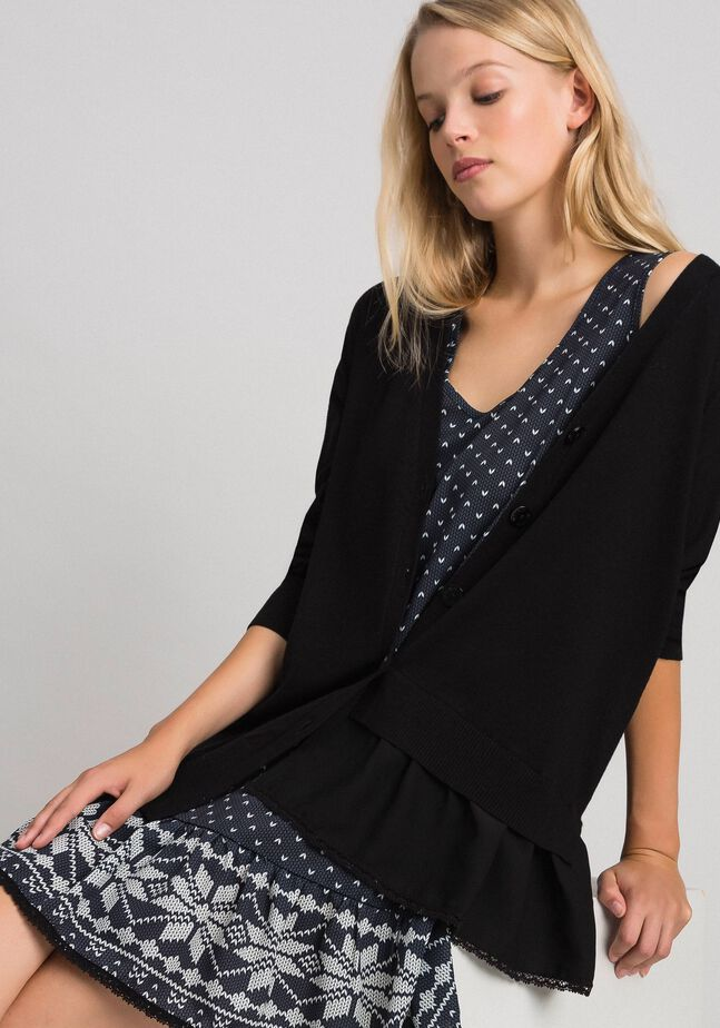 Maxi cardigan and printed slip with lace