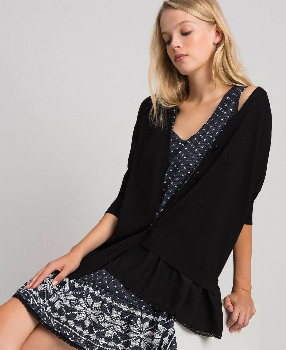 """Maxi cardigan and printed slip with lace Black / """"Vanilla"""" White Woman 192MT3092-01"""