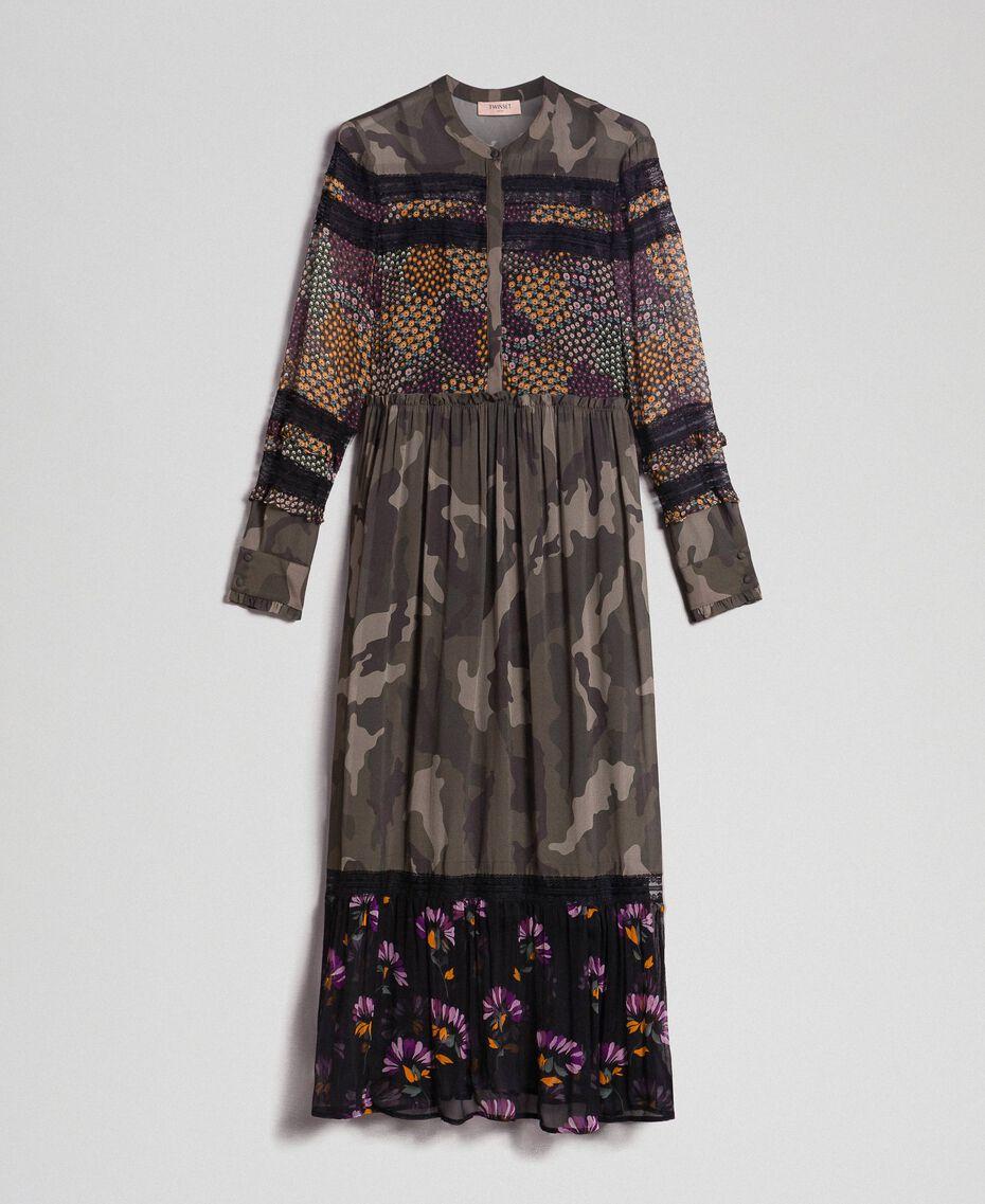 Robe longue avec imprimé camouflage et floral Imprimé Patch Fleur Camouflage Femme 192TT2120-0S