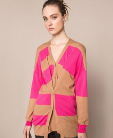 Cardigan à rayures asymétriques Rayé Marron Clair/ Rose Superpink Femme 201ST3111-05