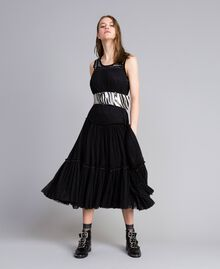 Kleid aus Tüll mit Volants Schwarz Frau JA82MA-0T