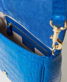 "Leather shoulder bag with crocodile print ""Nautical Blue"" Croc Print Woman 211TD8033-05"