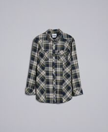 "Check flannel shirt Bicolour Blue / ""Golden Yellow"" Plaid Flannel Woman YA82ED-0S"