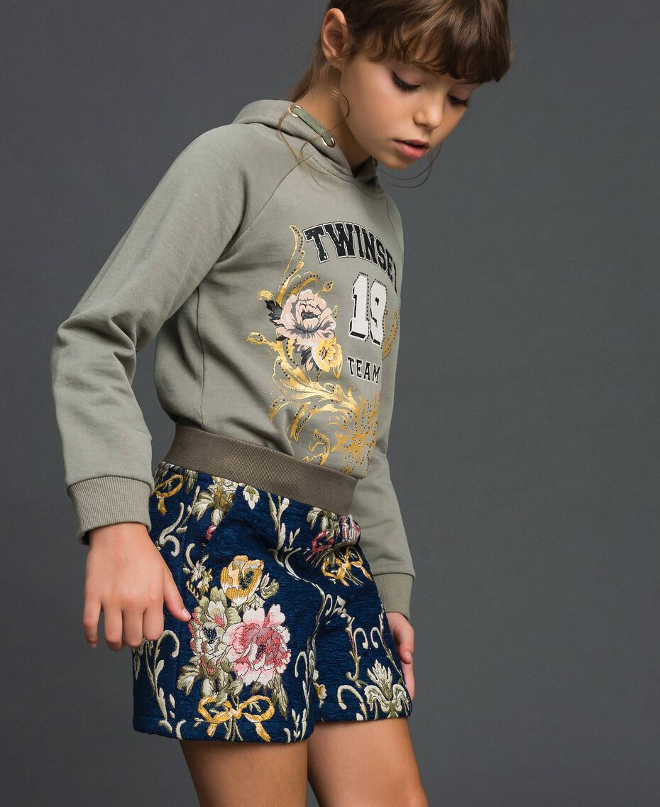 "Floral brocade shorts ""Mediterranean"" Blue Brocade Jacquard Child 192GJ2445-02"