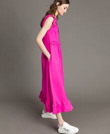 "Ruched georgette long dress ""Electric Pink"" Fuchsia Woman 191TP2323-02"