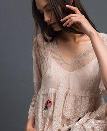 Robe en dentelle de Valenciennes avec broderies florales Noir Femme 192TP2586-01