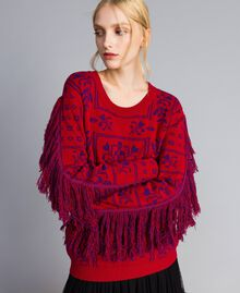 """Maxi jacquard jumper with fringes Two-tone """"Blackberry"""" Purple / Cherry Red Woman QA8TBN-05"""