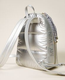 Quilted backpack with logo Silver Woman 202MO8020-02