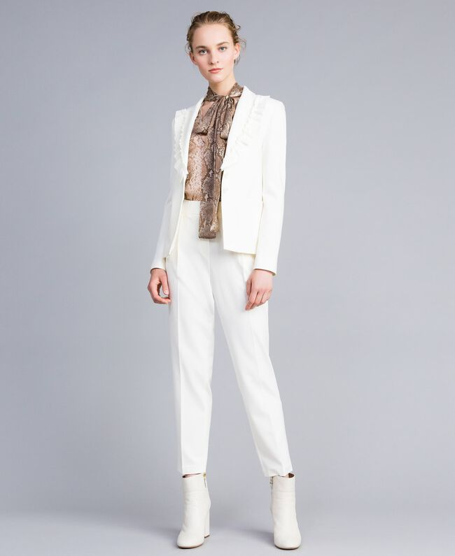Giacca in punto Milano con ruches Bianco Neve Donna PA821A-0T