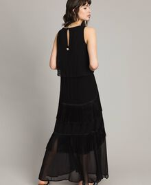 Long satin and chiffon dress with fringes Black Woman 191LM2BDD-03