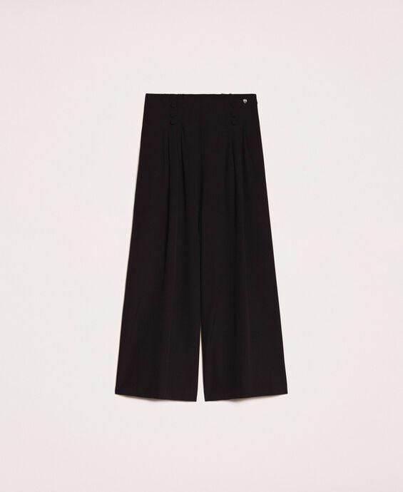 Pantalon taille haute en crêpe de Chine