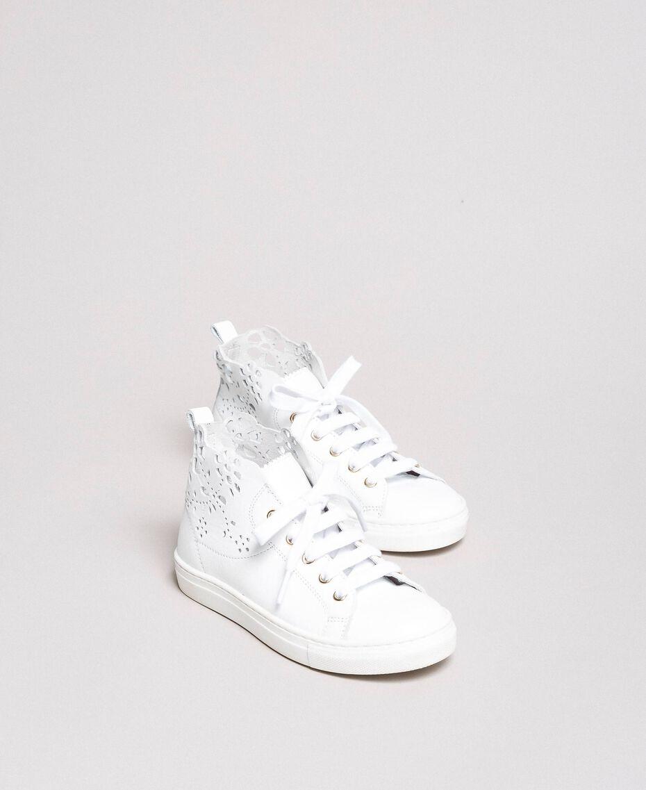 Nappa-Sneakers mit perforierten Details Weiß Kind 191GCJ172-02