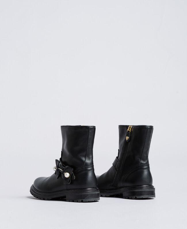 Кожаные сапожки с жемчужинами Черный Pебенок HA88AJ-03