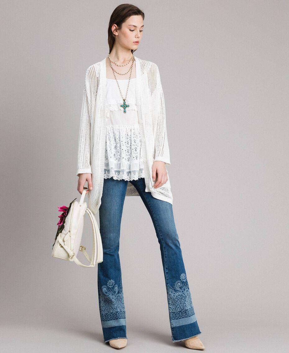 Jeans mit Laser-Muster und Glockenboden Denimblau Frau 191MT2381-0T