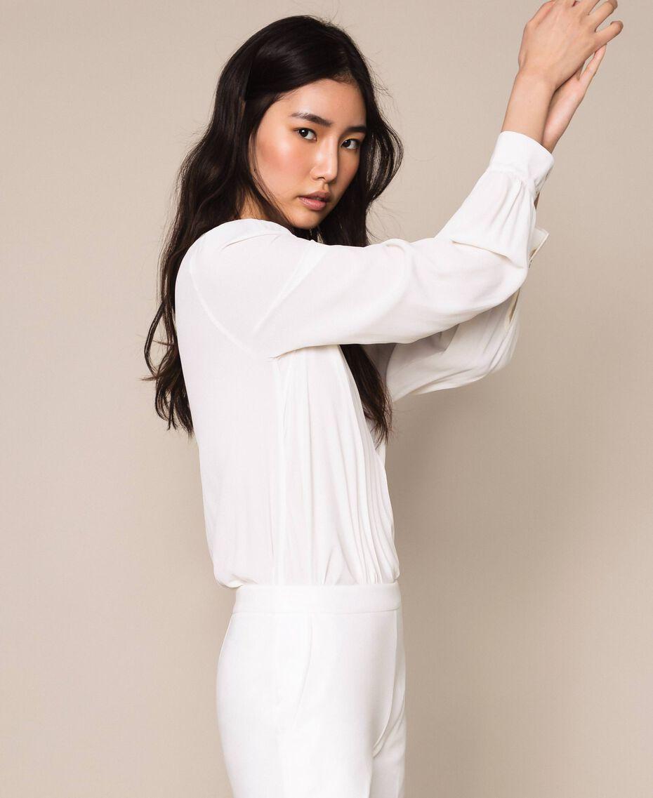 Body blouse body en soie mélangée Blanc Neige Femme 201TP2504-02