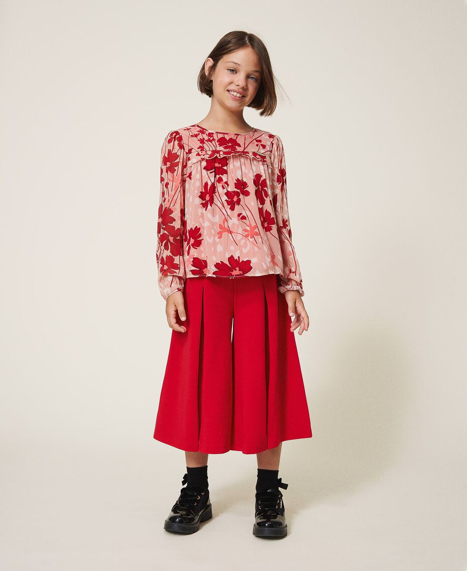 Bluse aus Georgette mit Blumendessin Blumen-Animal-Dessin Pfirsich / Kirschrot Kind 202GJ262B-02