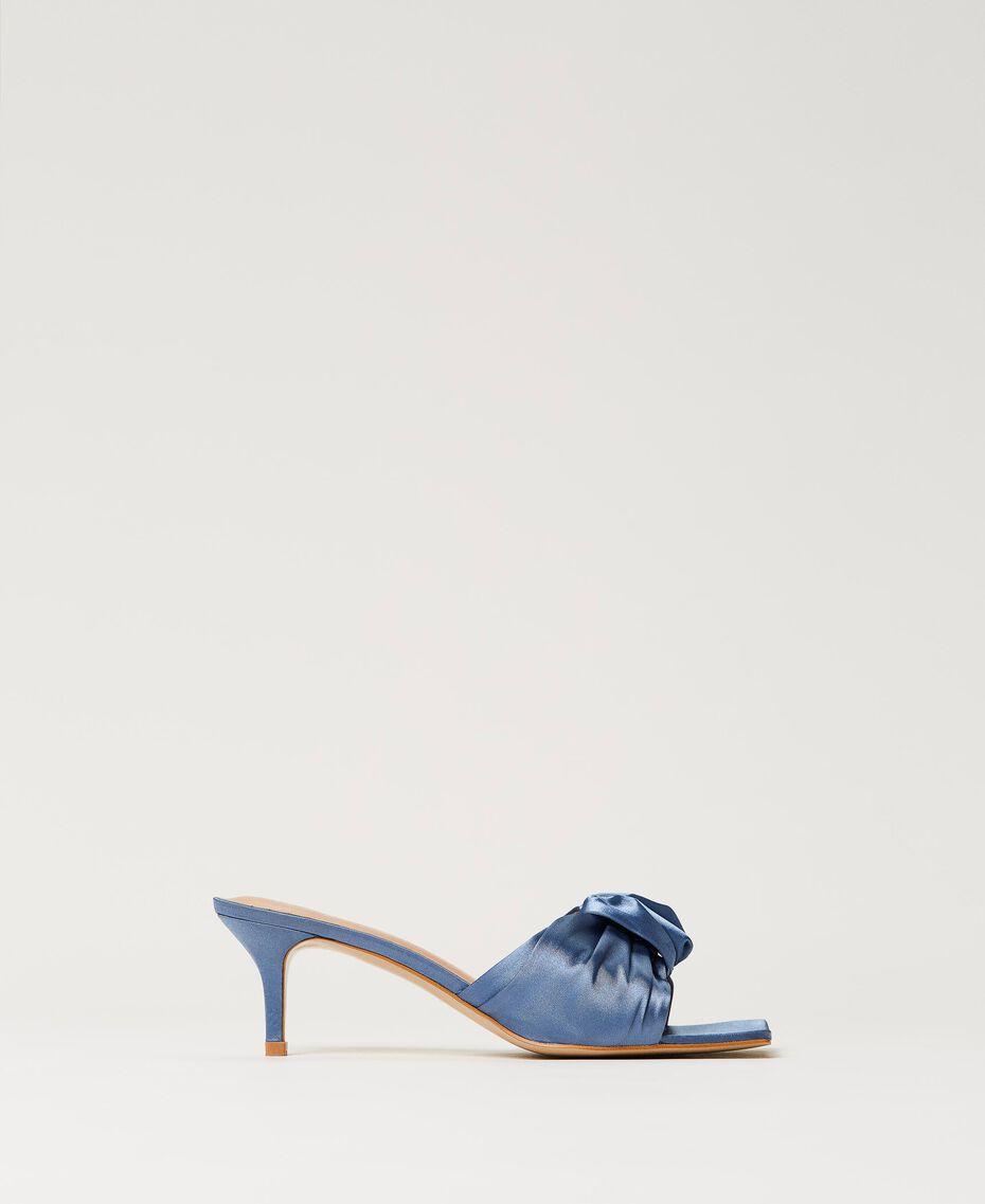 Satin sandals with knot Denim Woman 211TCT114-01