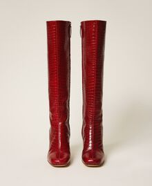 "Leather boots with crocodile print ""Cherry"" Red Croc Print Woman 202TCP07C-05"