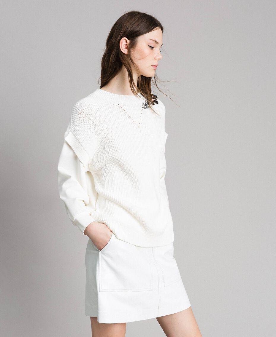 """Sweat shirt en maille de coton et au point de Milan Blanc """"Soie"""" Femme 191TP2071-02"""