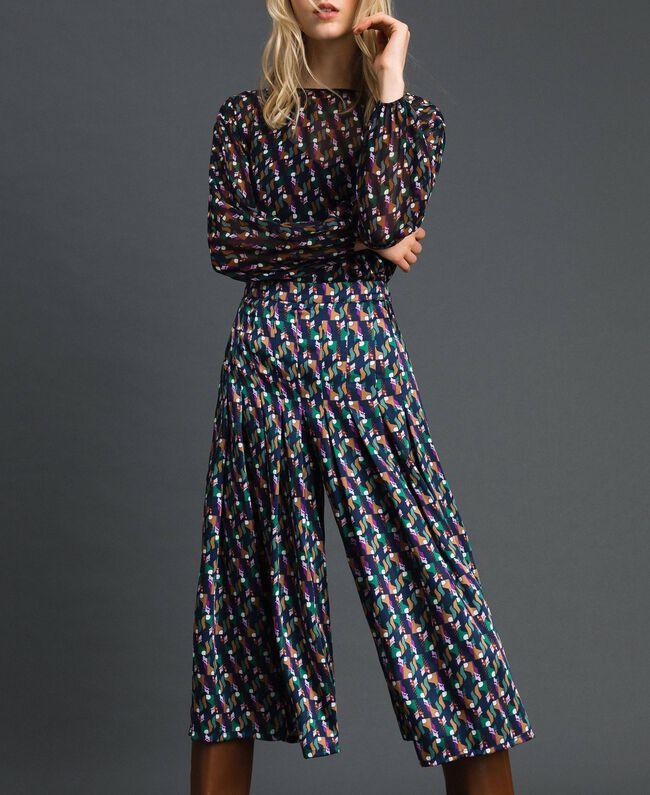 Trouser-skirt with print and pleats Fox Geometric Print Woman 192ST2142-01