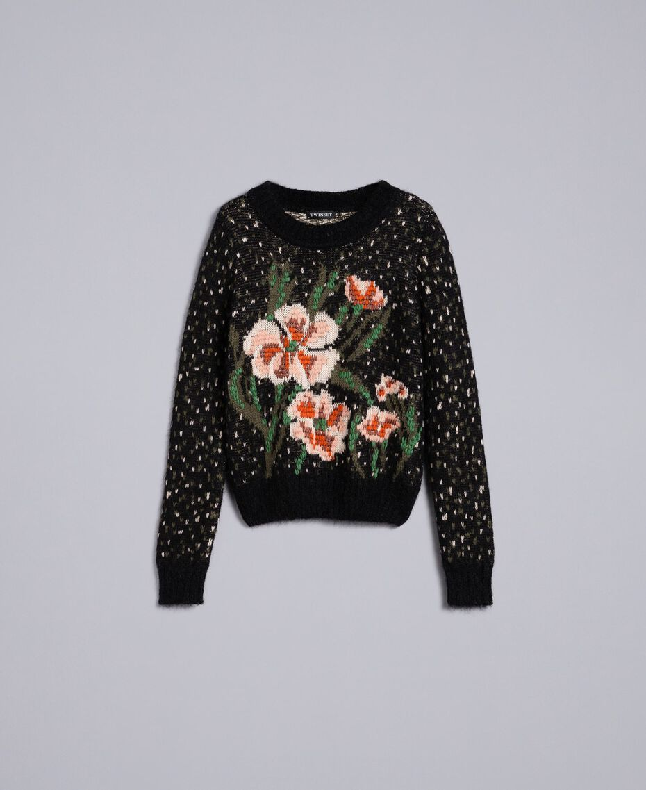 """Pullover in Jacquardverarbeitung mit Blumen und Tupfen Jacquard """"Blumen"""" Schwarz Frau TA83CC-0S"""