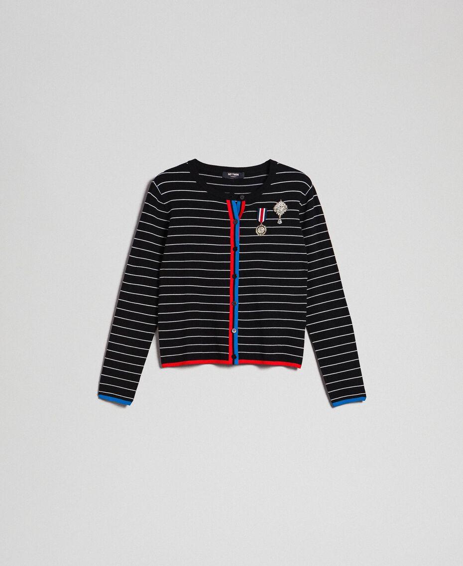 Cardigan rayé avec broches style militaire Bicolore Noir / Lys Femme 192MP3251-0S