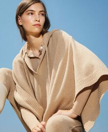 """Wool and cashmere poncho """"Pastel Skin"""" Beige Woman 202TT3013-01"""