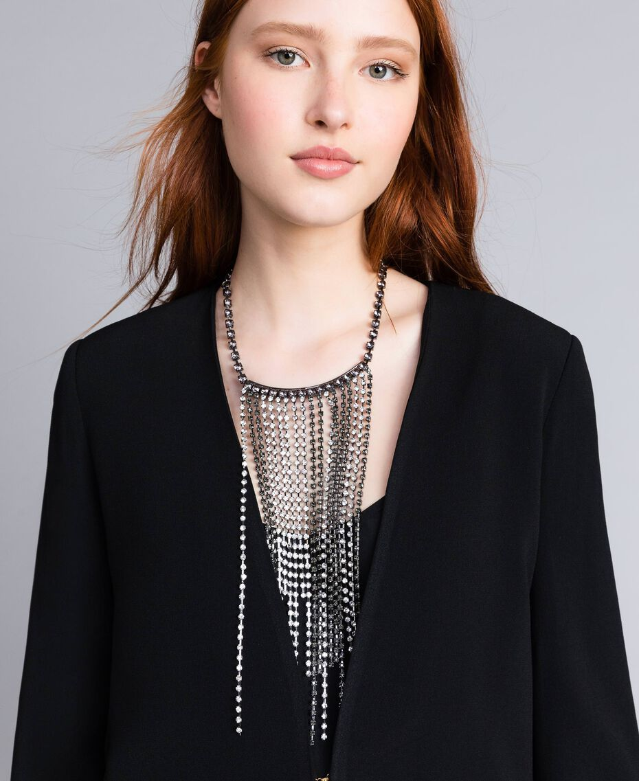 Halskette mit Strass-Steinen Zweifarbig Kristall / Black Diamond Schwarz Frau QA8TK1-0S