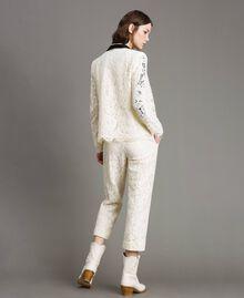 Pantaloni cropped in pizzo macramè Bianco Neve Donna 191TP2255-03
