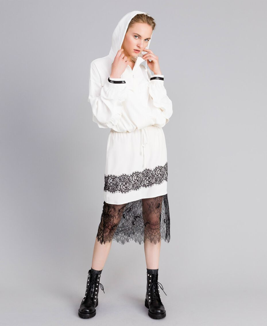 Falda midi de seda White Nieve Mujer PA82EP-0T