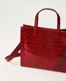 Medium leather Twinset Bag shopper Black Crocodile Print Woman 202TB7113-04