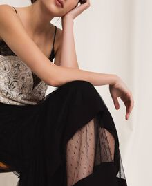Jupe en crêpe de Chine et tulle plumetis Noir Femme 201TP2372-04
