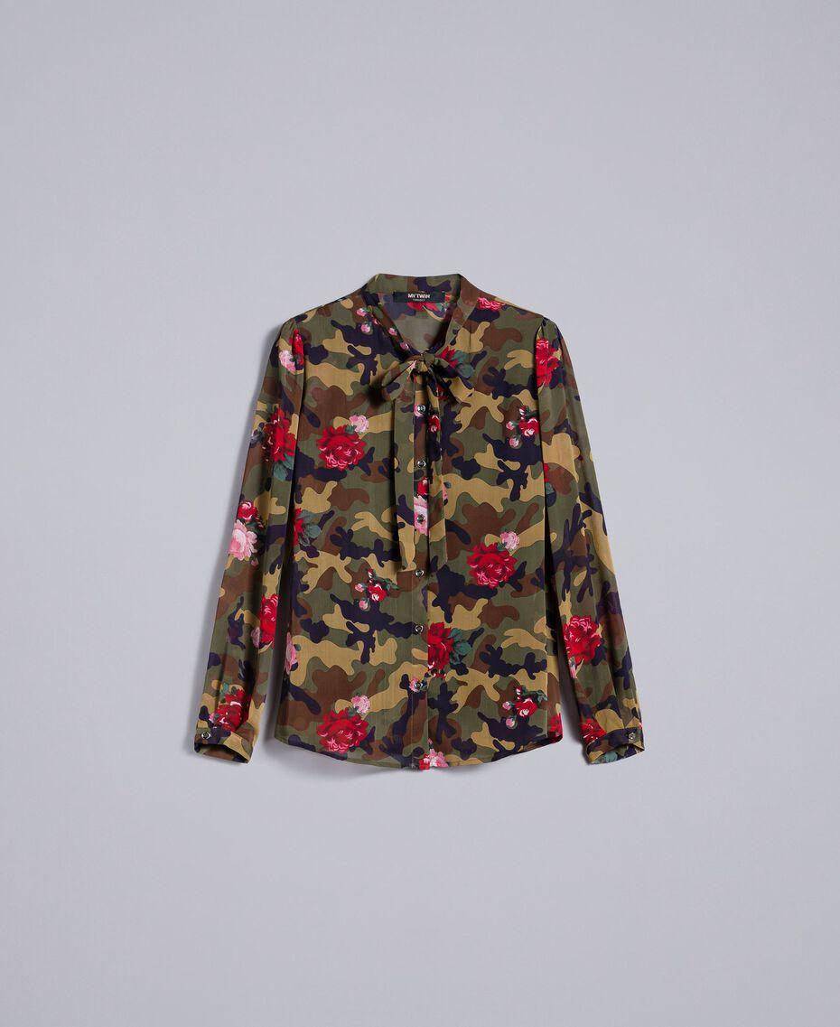 Camisa con estampado de rosas y camuflaje Estampado Camuflaje Flores Rosas Mujer JA82PB-0S