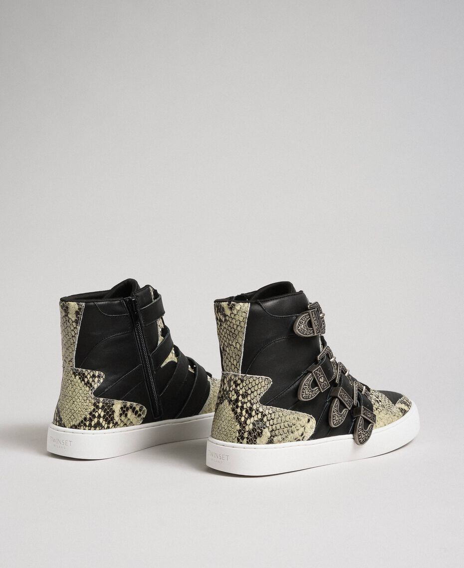 High top trainers with straps and animal print inlays Black Woman 192TCT080-03