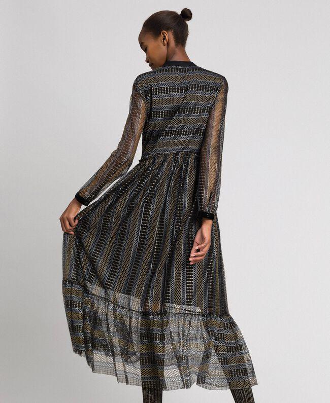 Длинное кружевное платье с люрексом Черный женщина 192TT2360-03