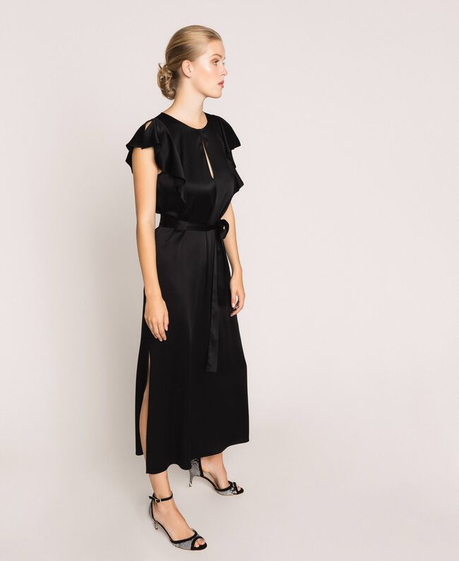 Long dress with frilled sleeves Black Cherry Woman 201TP2284-03