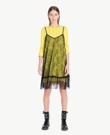 Kleid im Unterkleidstil mit Spitze Schwarz Weiblich PA72YE-01