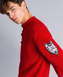 Maglia in lana e alpaca Rosso Papavero Uomo UA83DC-04