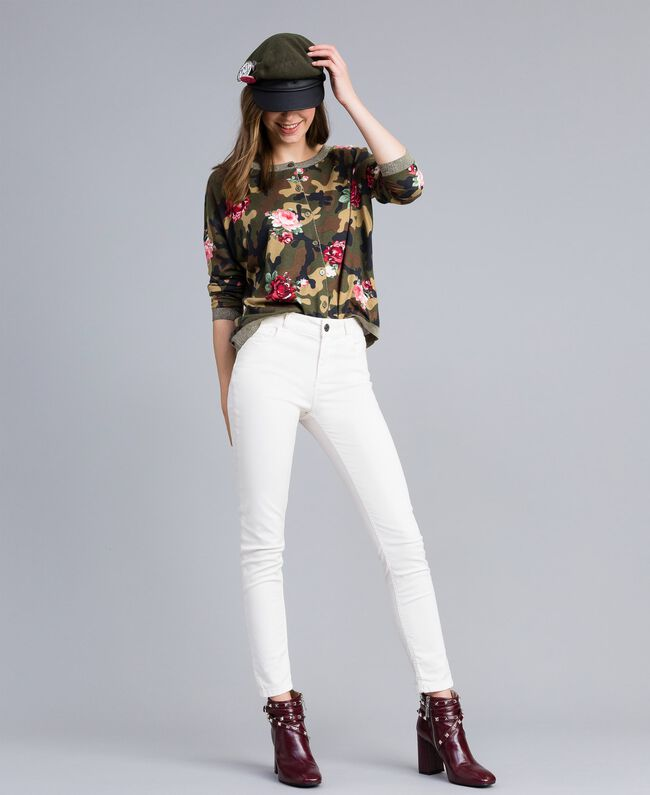 Pantaloni skinny in gabardine stretch Madreperla Donna JA82W1-01