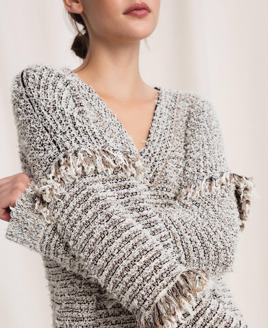 Пуловер из фасонной крученой пряжи с люрексом Разноцветный Слоновая кость / Черный женщина 201TP3162-05