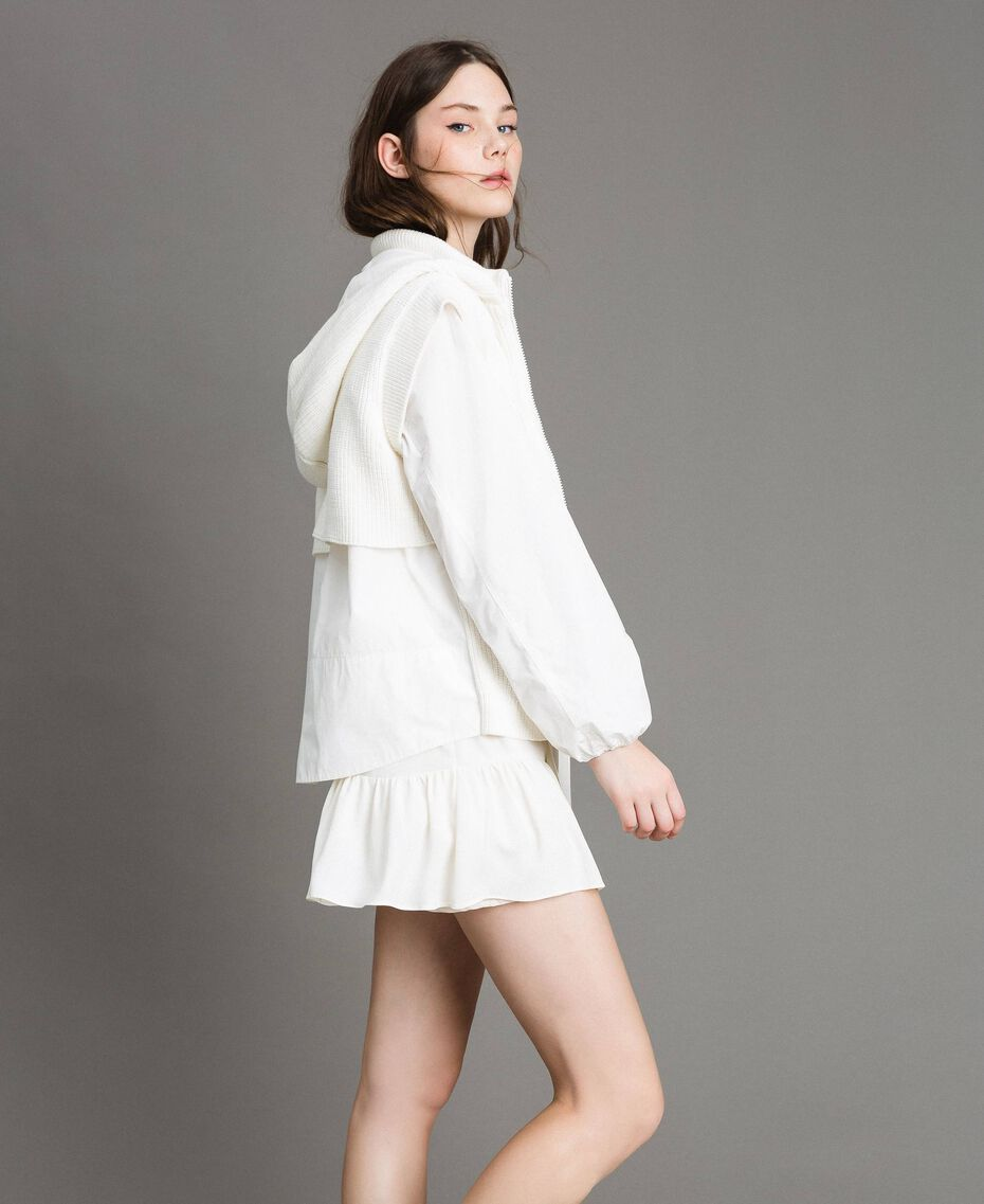"Taffeta and knit sweatshirt ""Silk"" White Woman 191TP2041-02"