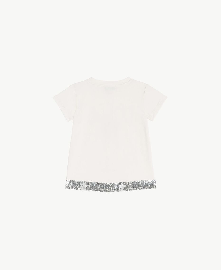 Sequined t-shirt Pale Cream Child FS82A5-02