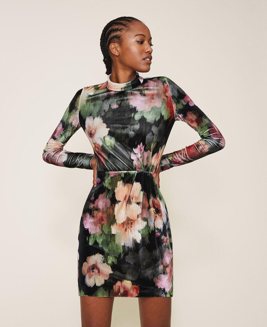 "Floral velvet sheath dress Black / ""Peach Pearl"" Floral Print Woman 202TT2361-02"