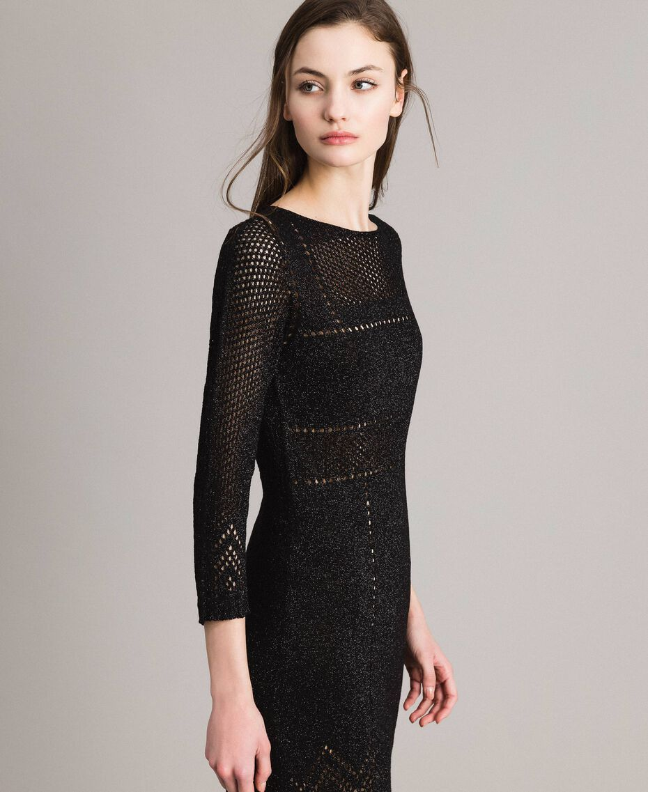 Openwork lurex dress Black Woman 191TT3111-02